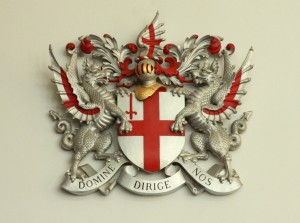Dragons on City of London Coat of Arms, St. Lawrence Jewry, Gresham Street, City of  London