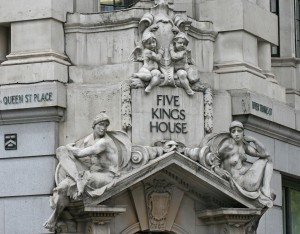 Five Kings House, Lower Thames Street - group above entrance