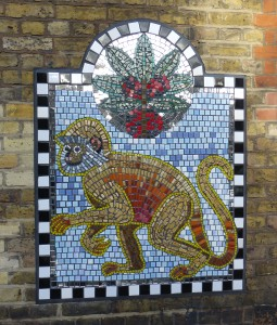 Monkey mosaic - wall at Bethnal Green School, Globe Road