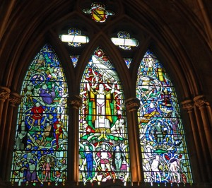 Southwark Cathedral window with Shakespeare's characters