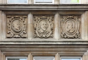 Shakespeare, Cervantes, Dante on Westminster Library, Great Smith Street