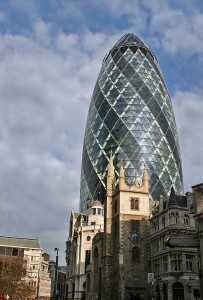 The Gherkin with St. Andrew Undershaft in front