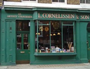 Cornelissen & Son is an art supplier. The shop on Great Russell Street near the British Museum was established in 1855.