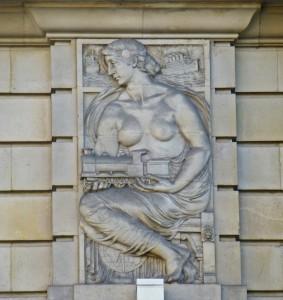 Norway House - woman w locomotive and ship