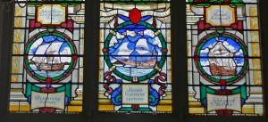 St. Sepulchre - Captain John Smith window, 3 ships - canon84