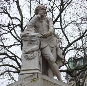 William Shakespeare on fountain in Leicester Square