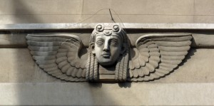Egyptian head with wings, Oxford Streeet