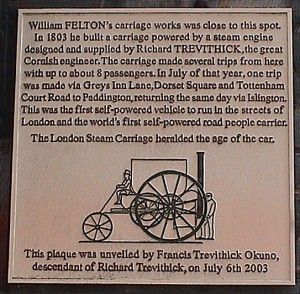 Felton and Trevithick plaque, Leather Lane, Bloomsbury
