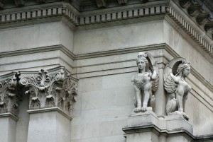 Two sphinxes on the corner of Tate Britain have all the correct attributes – including the impressive wings.