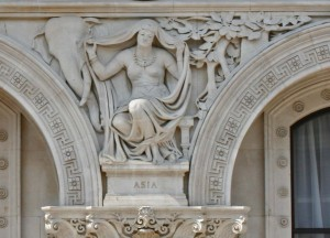 "On the front of the Foreign and Commonwealth Office on Whitehall, an elephant looks over the shoulder of an Indian woman who symbolises ""Asia"". (In British terminology ""Asia"" includes India and Pakistan – which can be confusing to Americans who think of Asia as the countries of the Far East.)"