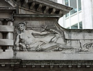 Mercury on former Underground entrance, King William StreetMercury, representing Travel, is matched on the left side of the pediment by Fulgora – the goddess of lightening.