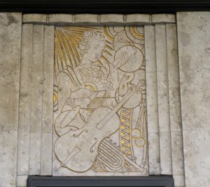 Art Deco musical woman - Barkers Bldg, 63-97 Kensington High Street