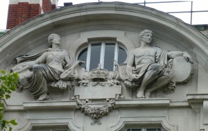 Royal Academy of Music, Marylebone Rd,, pediment - two musicians