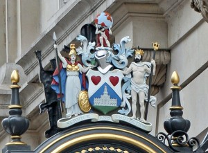 Crest on clock at the Royal Exchange
