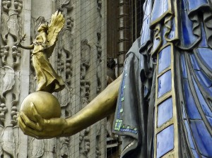 Selfridges, Oxfrod Street - Winged Victory held by Queen of Time
